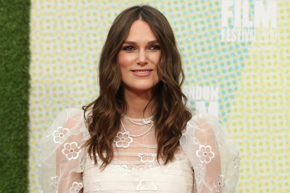 British actor Keira Knightley poses on the red carpet upon arrival for the European premiere of the film