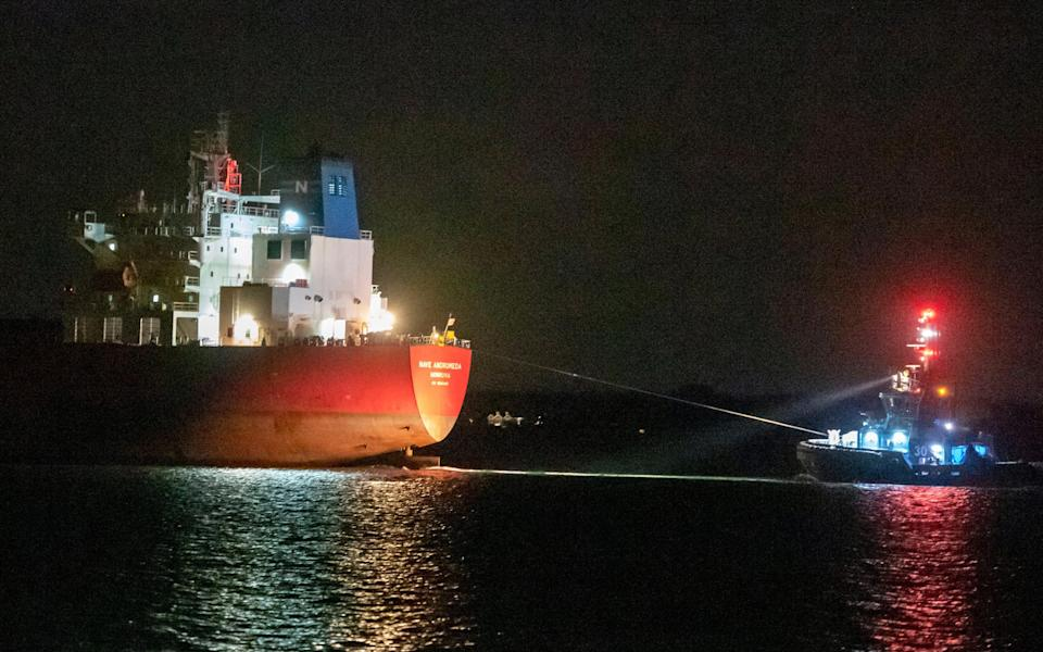 The Nave Andromeda arrives to port on October 26, 2020 in Southampton