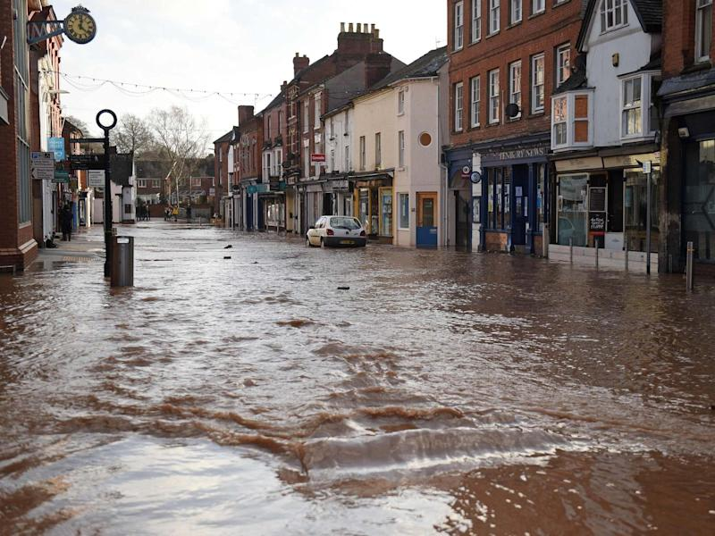 Teme Street in Tenbury Wells, a market town in Worcestershire, is seen under floodwater from the overflowing River Teme amid Storm Dennis: AFP