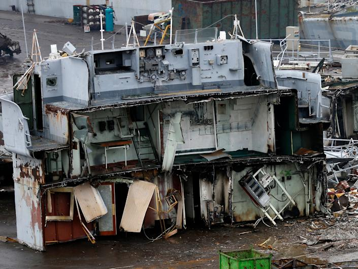 The dismantled steering cabin of a French navy vessel is seen the Galloo ship recycling plant in Ghent February 25, 2015.