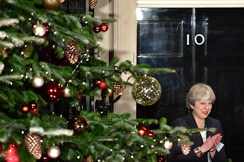 Mrs May at the switching on of the Downing Street Christmas tree lights (PA)