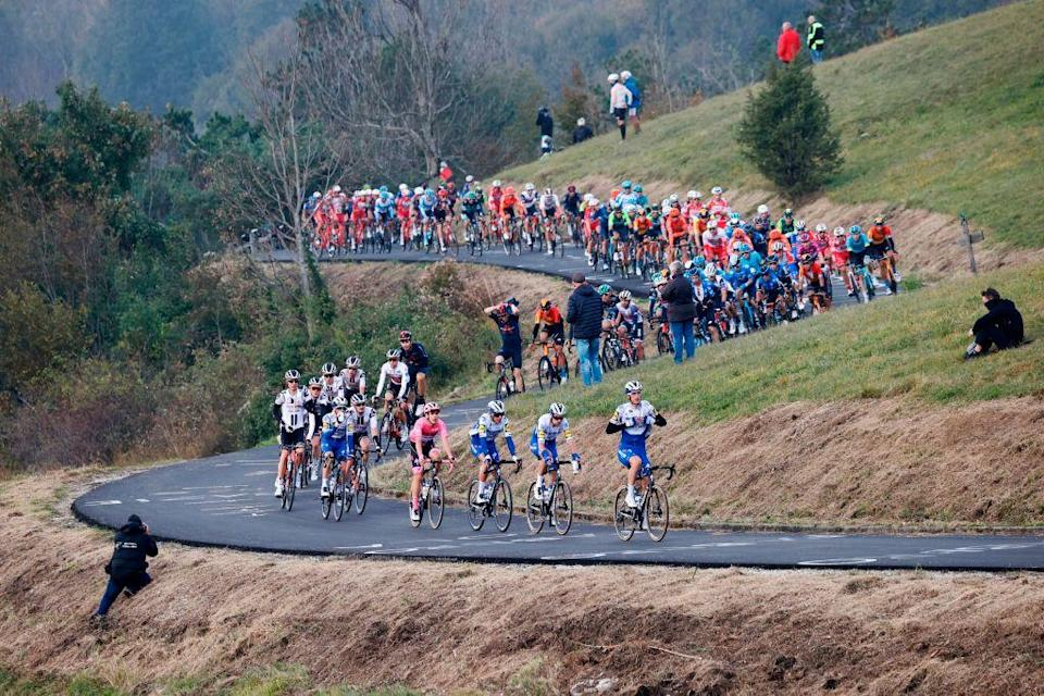 Cyclists ride in the Madonnina del Don climb during the 16th stage of the Giro dItalia 2020 cycling race a 229 km between Udine and San Daniele in Udine on October 20 2020 Photo by Luca Bettini  AFP Photo by LUCA BETTINIAFP via Getty Images