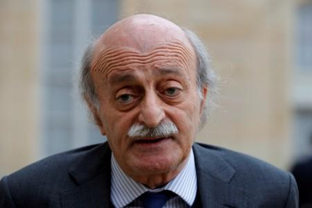 FILE PHOTO: Lebanese Druze leader Walid Jumblatt leaves the Elysee Palace in Paris following a meeting with French President Francois Hollande