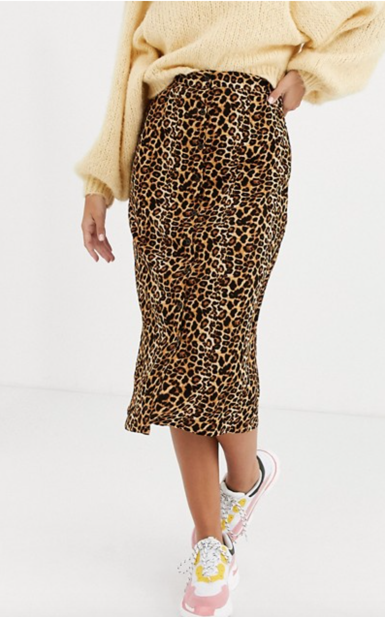 Buttoned Midi-Skirt in Leopard Print. Image via ASOS