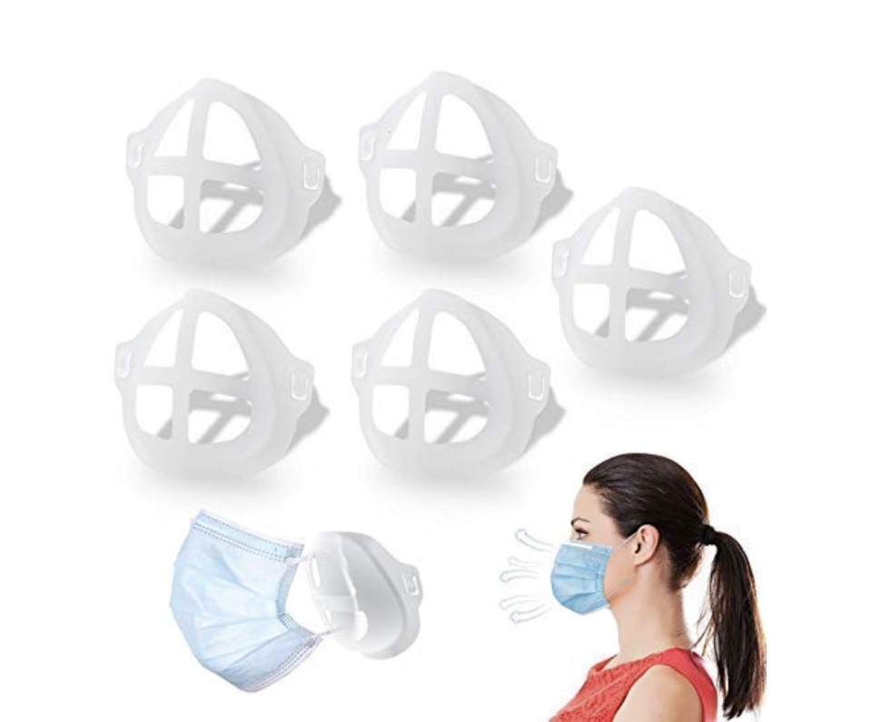 Holds aforementioned mask away, for comfort and breathability. Genius. (Photo: Amazon)