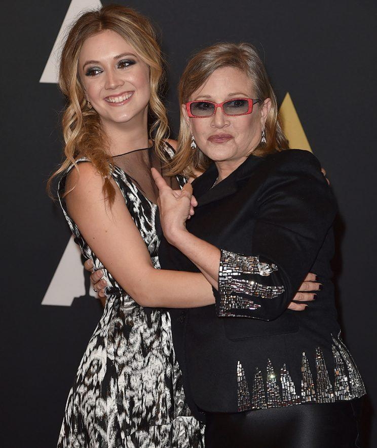 Actress Billie Lourd with her mother, Carrie Fisher
