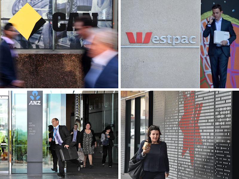 Images of staff or pedestrians walking past the big four banks.