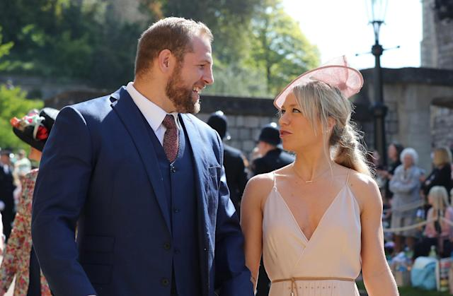 James Haskell and Chloe Madeley arrive at St George's Chapel at Windsor Castle before the wedding of Prince Harry to Meghan Markle on May 19, 2018 in Windsor, England. (Photo by Gareth Fuller - WPA Pool/Getty Images)