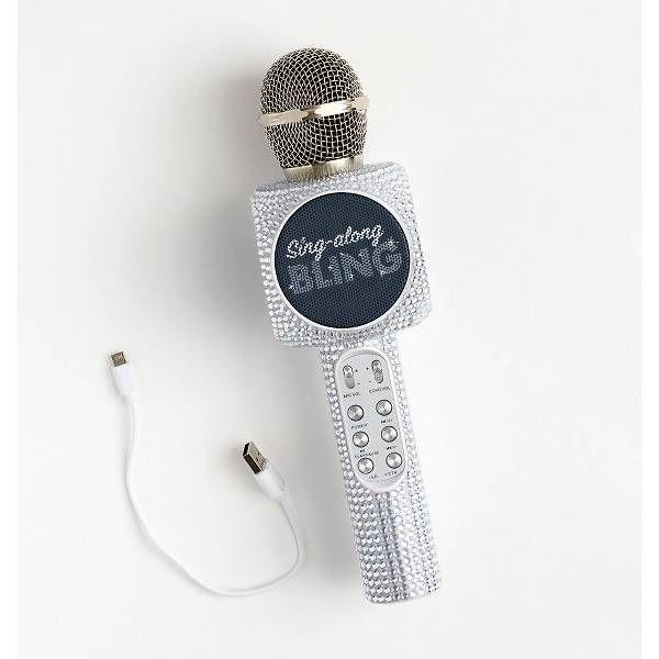 """<p>papersource.com</p><p><strong>$49.95</strong></p><p><a href=""""https://www.papersource.com/gifts/bling-microphone-10006927.html"""" rel=""""nofollow noopener"""" target=""""_blank"""" data-ylk=""""slk:Shop Now"""" class=""""link rapid-noclick-resp"""">Shop Now</a></p><p>She can croon the tunes with this blinged-out microphone. </p>"""