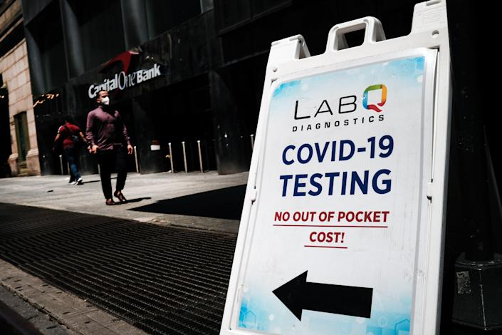 A Covid-19 testing station outside of Grand Central Terminal in Manhattan on July 27 (Getty Images)