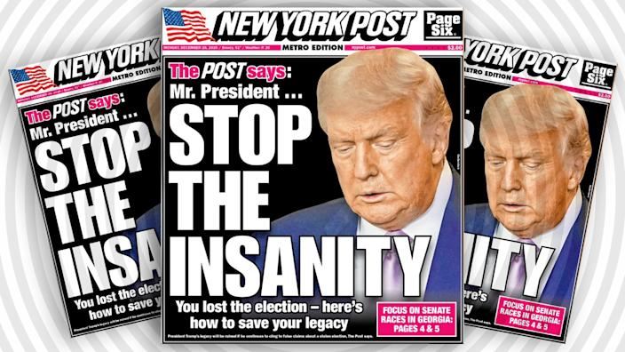 December 28, 2020 cover of the New York Post. (Photo illustration: Yahoo News; photos: NYPost, Getty Images)