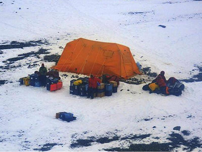 Picture taken by the Argentine Navy shows stranded American scientists on Joinville Island in Antarctica, south of the Argentine mainland. (AP)
