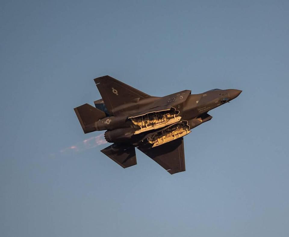 """The F-35A Lightning II piloted by Maj. Kristin """"BEO"""" Wolfe with the U.S. Air Force demonstration team flies low to give the crowd a look inside during the California Capital Airshow on Friday, Sept. 24, 2021, at Mather Airport in Sacramento."""