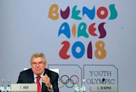 Thomas Bach, President of the International Olympic Committee (IOC), gestures as he speaks the 133rd IOC session in Buenos Aires, Argentina October 9, 2018. REUTERS/Marcos Brindicci