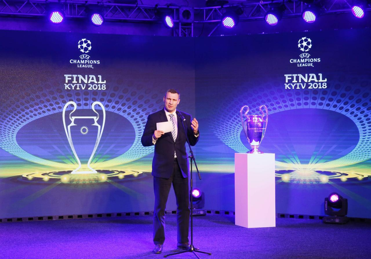 Kiev Mayor Vitali Klitschko speaks next to the UEFA Champions League trophy during the unveiling ceremony of the logo of the 2018 Champions League final soccer match in Kiev, Ukraine December 12, 2017. REUTERS/Valentyn Ogirenko