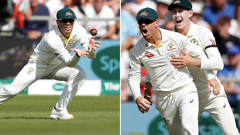 David Warner took four catches in the first session of day two.