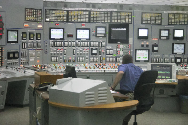 FILE - This June 26, 2011 file photo shows the control room of the Cooper nuclear power plant in Brownville, Neb. The number of safety violations at U.S. nuclear power plants varies dramatically from region to region, pointing to inconsistent enforcement in an industry now operating mostly beyond its original 40-year licenses, according to a congressional study awaiting release. For 2000-2012, this facility led all sites in the U.S. in lower-level violations per reactor with 363. (AP Photo/Josh Funk)