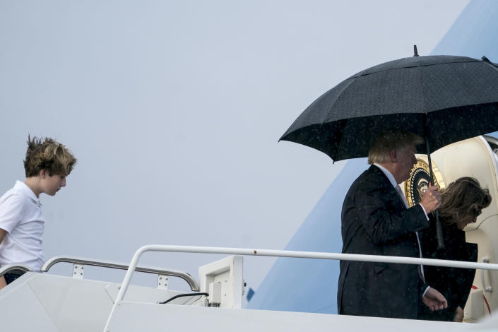 <em>The trio left Palm Beach International Airport to travel to Washington after spending the weekend at Mar-a-Lago (AP)</em>