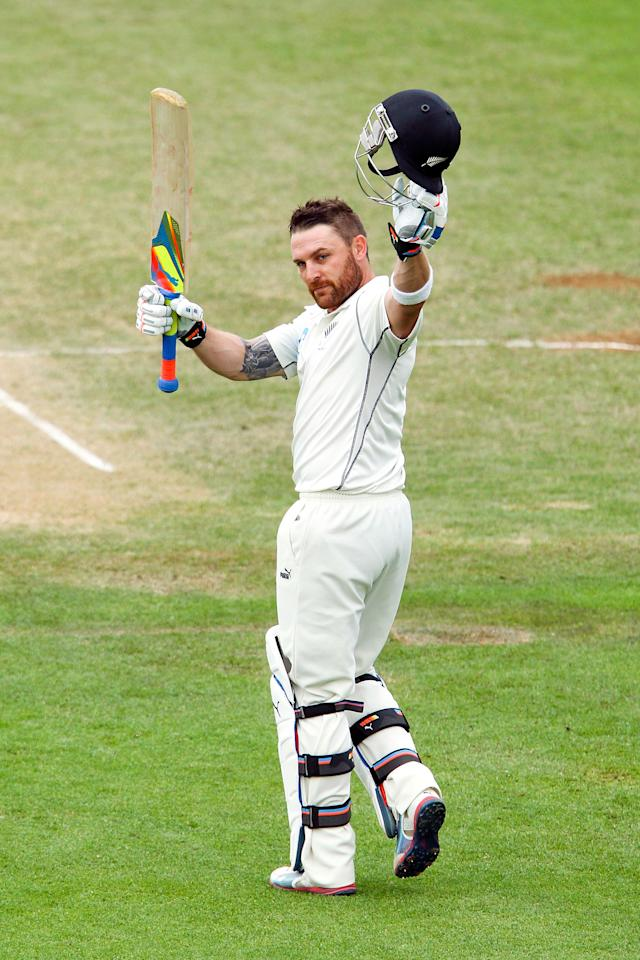 WELLINGTON, NEW ZEALAND - FEBRUARY 18:  Brendon McCullum of New Zealand celebrates after reaching 300 runs for New Zealand's first ever triple century and the highest ever score by a New Zealand cricketer during day five of the 2nd Test match between New Zealand and India on February 18, 2014 in Wellington, New Zealand.  (Photo by Hagen Hopkins/Getty Images)