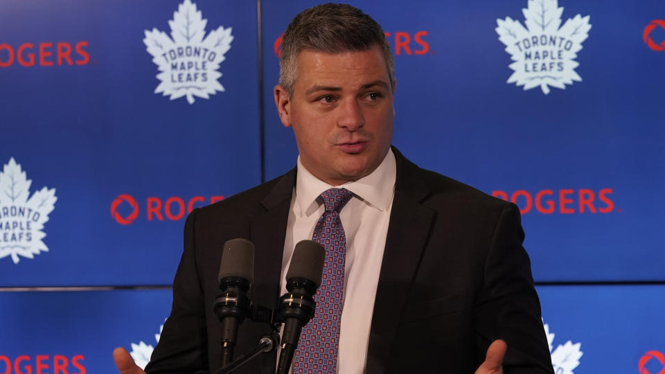 Feb 22, 2020; Toronto, Ontario, CAN; Toronto Maple Leafs head coach Sheldon Keefe during the post game press conference after a loss to the Carolina Hurricanes at Scotiabank Arena. Mandatory Credit: John E. Sokolowski-USA TODAY Sports