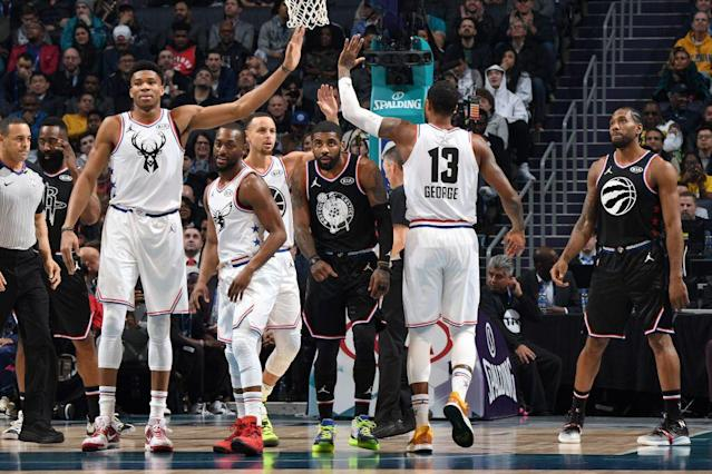 NBA All-Stars Giannis Antetokounmpo and Paul George both made the NBA's First Team All-Defensive cut. (Getty Images)