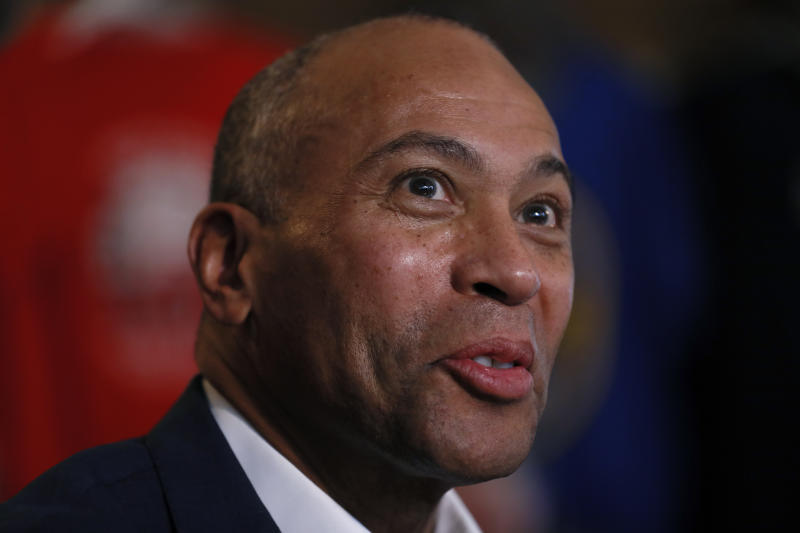 FILE - In this Nov. 18, 2019, file photo, Democratic presidential candidate former Massachusetts Gov. Deval Patrick speaks to local residents during a stop at the Sykora Bakery in Cedar Rapids, Iowa. Patrick is running an unorthodox campaign with just over a month until the Democratic presidential primaries start.(AP Photo/Charlie Neibergall)