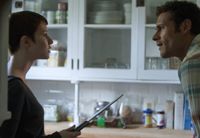 "Emma (Valorie Curry) threatens Paul (Adan Canto) in the ""The Poet's Fire"" episode of ""The Following."""