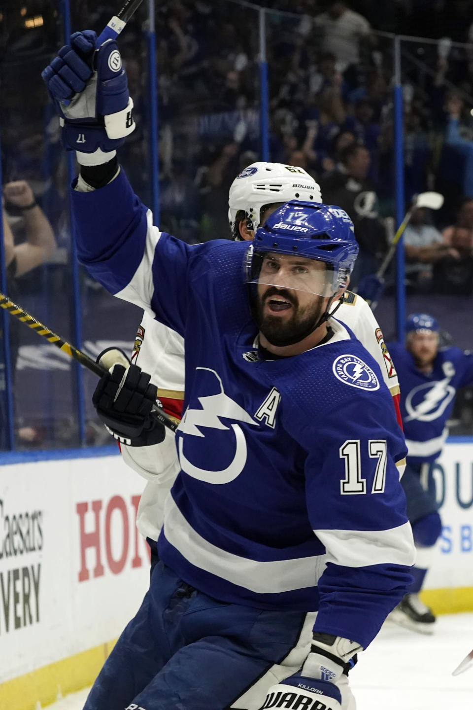 Tampa Bay Lightning left wing Alex Killorn (17) celebrates his goal against the Florida Panthers during the second period in Game 4 of an NHL hockey Stanley Cup first-round playoff series Saturday, May 22, 2021, in Tampa, Fla. (AP Photo/Chris O'Meara)