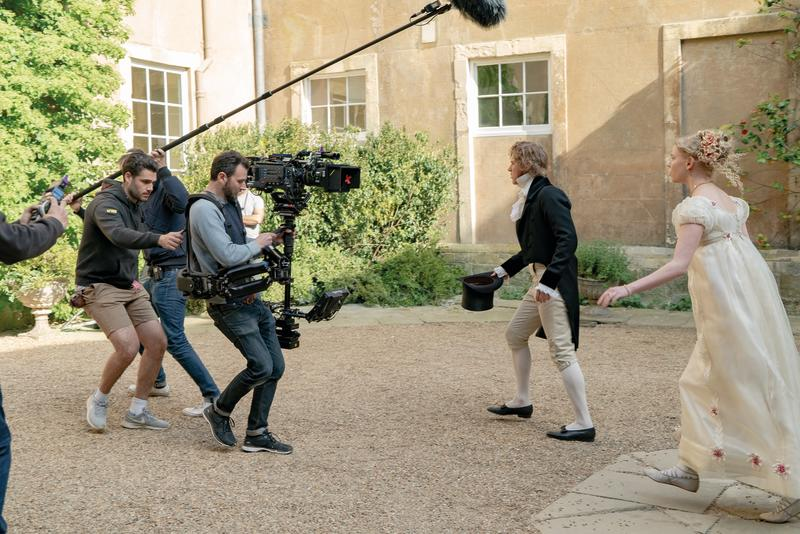 Johnny Flynn and Anya Taylor-Joy filming at Firle Place