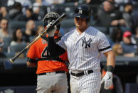 New York Yankees' Luke Voit reacts after striking out to end the third inning of a baseball game against the Baltimore Orioles, Saturday, March 30, 2019, in New York. (AP Photo/Julie Jacobson)