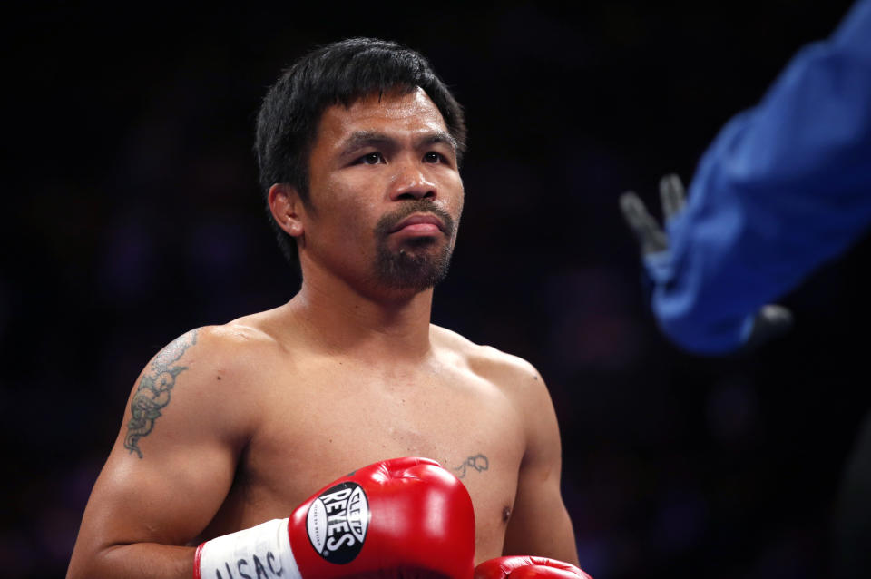 LAS VEGAS, NEVADA - JULY 20:  Manny Pacquiao gets ready for the start of his WBA welterweight title fight against Keith Thurman at MGM Grand Garden Arena on July 20, 2019 in Las Vegas, Nevada.  (Photo by Steve Marcus/Getty Images)
