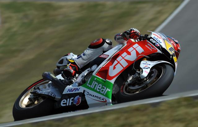 Moto GP rider Stefan Bradl rides his Honda during the free practice session at the Czech Republic Moto GP on August 24, 2012 in Brno ahead of the Grand prix on August 26. AFP PHOTO/ MICHAL CIZEKMICHAL CIZEK/AFP/GettyImages