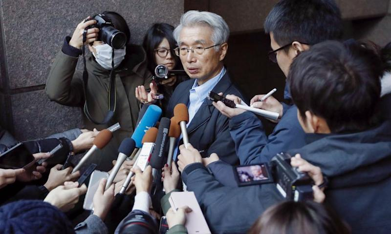 Junichiro Hironaka, Ghosn's lawyer, facing questions from the media after the escape.