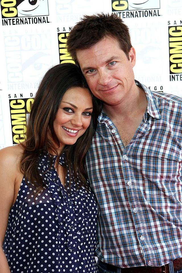 """Mila Kunis and her """"Extract"""" co-star Jason Bateman hugged it out before championing their naughty Mike Judge comedy, which also stars Ben Affleck, Kristen Wiig (""""S.N.L.""""), and KISS frontman Gene Simmons. Chelsea Lauren/<a href=""""http://www.wireimage.com"""" target=""""new"""">WireImage.com</a> - July 25, 2009"""