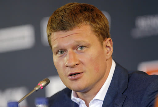 FILE - In this file photo dated Monday, May 16, 2016, Alexander Povetkin of Russia speaks at a news conference in Moscow. Anthony Joshua was given a 24-hour deadline on Tuesday June 26, 2018, to sign a deal to fight Russian contender Alexander Povetkin or face being stripped of the WBA portion of his world heavyweight boxing titles. (AP Photo/Alexander Zemlianichenko)