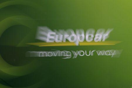 A Europcar logo is seen in an underground parking lot in Paris
