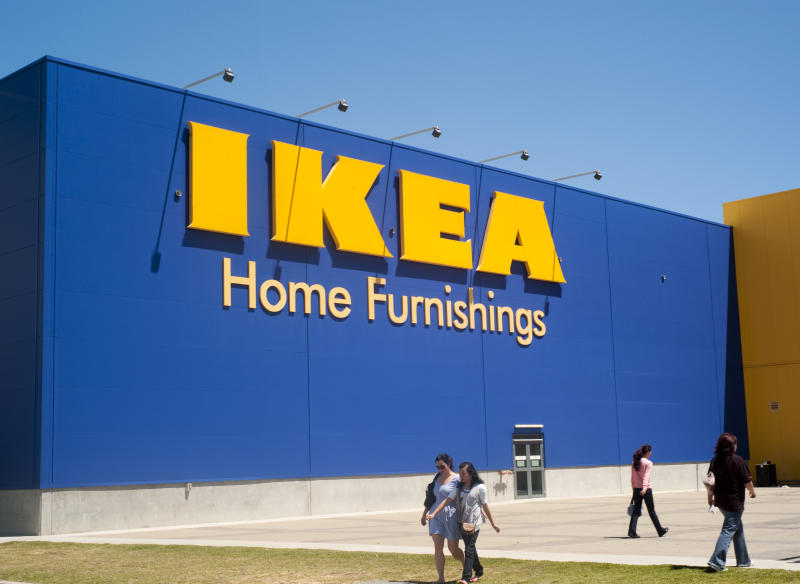 Adelaide, Australia - October 29th, 2011: People walking by the large sign to the IKEA store in Adelaide Australia