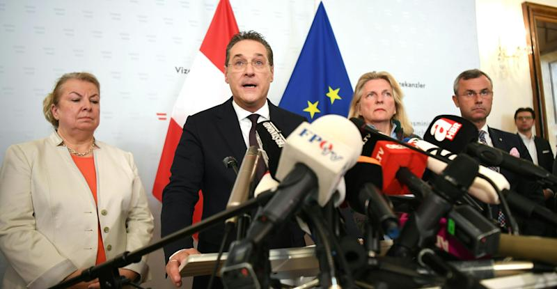 """(L-R) Beate Hartinger-Klein, Austrian Federal Minister for Labour, Social Affairs, Health and Consumer Protection, Austria's Vice-Chancellor and chairman of the Freedom Party FPOe Heinz-Christian Strache, Austrian Foreign Minister Karin Kneissl and Austrian transport minister Norbert Hofer give a joint press conference in Vienna on May 18, 2019 after the publication of the """"Ibiza - Video"""" regarding Strache. - Austria's Vice-Chancellor and chairman of the Freedom Party FPOe Heinz-Christian Strache resigns over video scandal. (Photo by HELMUT FOHRINGER / APA / AFP) / Austria OUT (Photo credit should read HELMUT FOHRINGER/AFP/Getty Images)"""