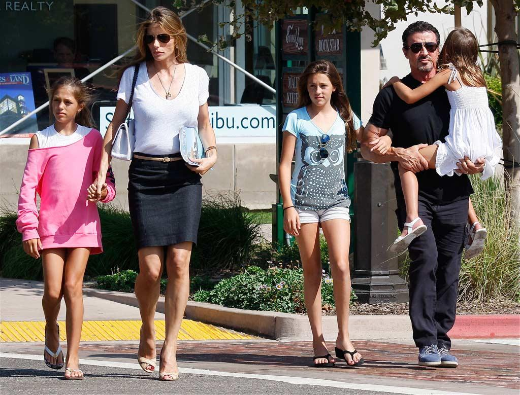 "Sylvester Stallone runs errands in Malibu with his wife, Jennifer Flavin, and their three daughters: Sistine Rose, 11; Sophia Rose, 12; and Scarlet Rose, 7. Trico/<a href=""http://www.x17online.com"" target=""new"">X17 Online</a> - September 20, 2009"