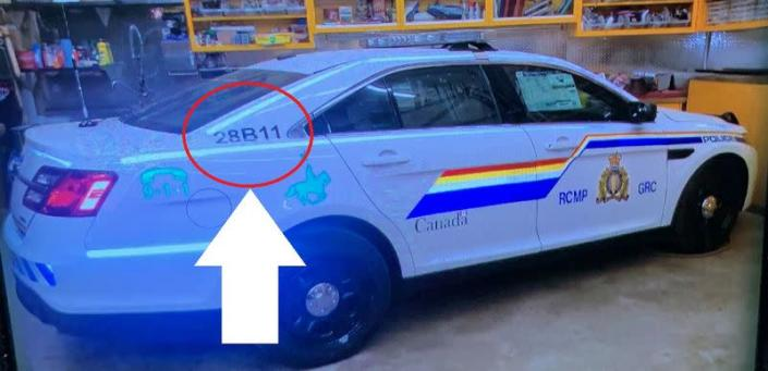 Undated photograph of a Royal Canadian Mounted Police cruiser is shown during public appeal