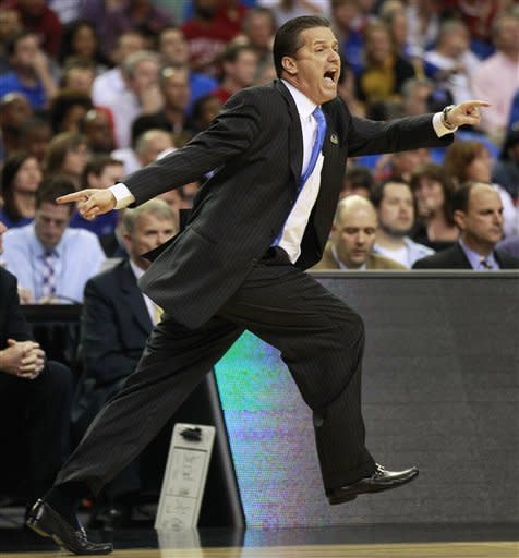 Kentucky head coach John Calipari reacts to play against Indiana during the first half of an NCAA tournament South Regional semifinal college basketball game Friday, March 23, 2012, in Atlanta. (AP Photo/John Bazemore)