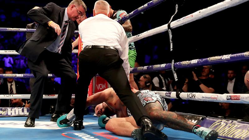 Artur Szpilka is attended to after the brutal KO from Derek Chisora. (Photo by Bradley Collyer/PA Images via Getty Images)