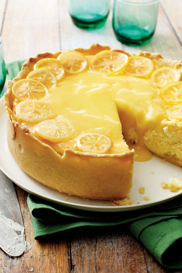 "<p><strong>Recipe:</strong> <a href=""https://www.southernliving.com/syndication/lemon-bar-cheesecake""><strong>Lemon Bar Cheesecake</strong></a></p> <p>This indulgent recipe marries two delicious desserts: lemon bars and cheesecake. Using a dark springform pan ensures a golden brown crust on this tart dessert recipe without having to bake before adding the filling.</p>"