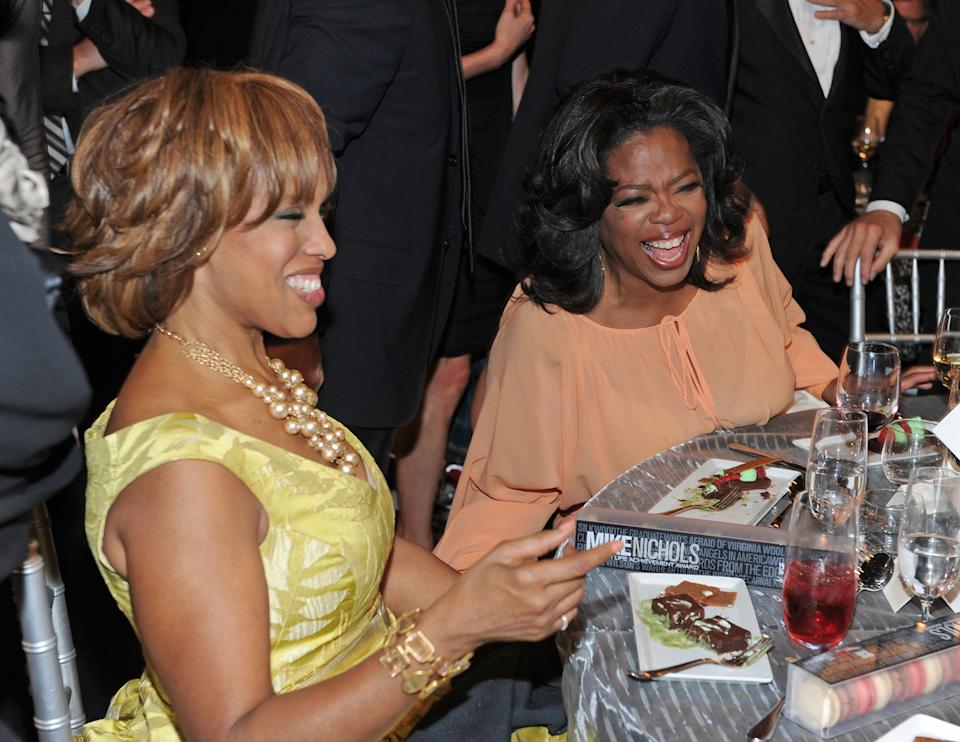 CULVER CITY, CA - JUNE 10:  Oprah Winfrey (R) and Gayle King in the audience during the 38th AFI Life Achievement Award honoring Mike Nichols held at Sony Pictures Studios on June 10, 2010 in Culver City, California. The AFI Life Achievement Award tribute to Mike Nichols will premiere on TV Land on Saturday, June 25 at 9PM ET/PST.  (Photo by Frazer Harrison/Getty Images for AFI)