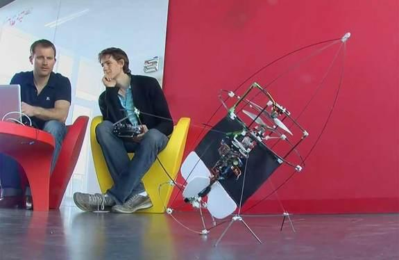 The flying AirBurr robot can pick itself up again on four wiry legs after it falls from the air.