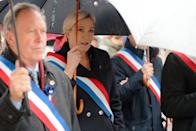 """CARVIN, FRANCE - NOVEMBER 11: French far-right party """"Rassemblement National"""" leader Marine Le Pen attends remembrance day commemorations on November 11, 2019 in Carvin, France. (Photo by Sylvain Lefevre/Getty Images)"""