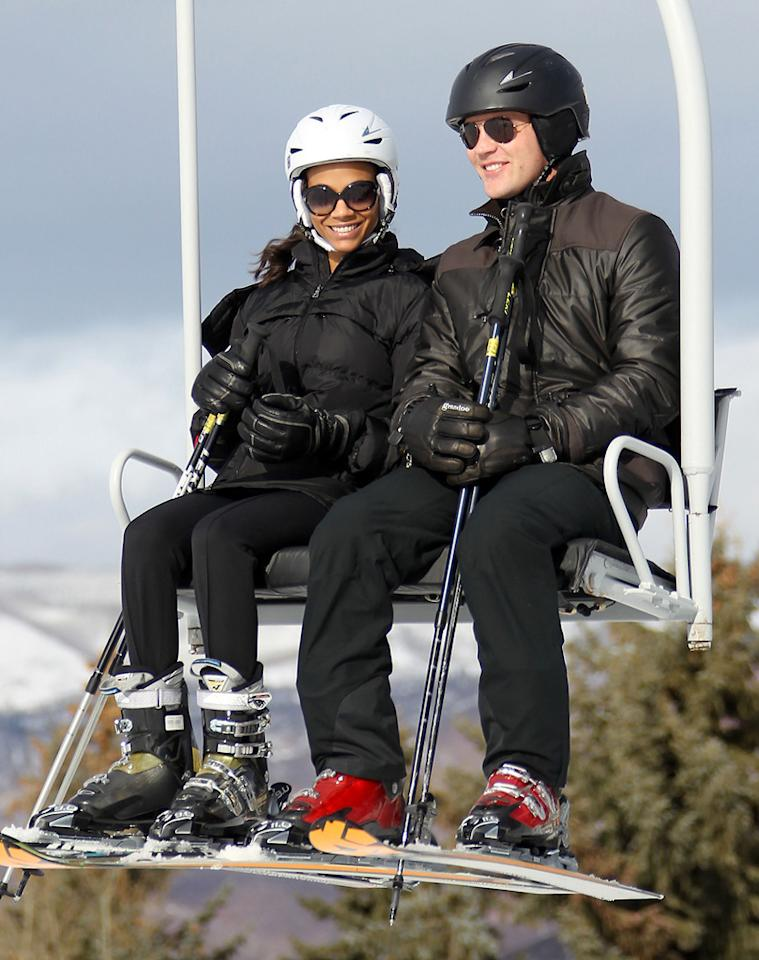 """""""Avatar"""" Zoe Saldana and her fiance Keith Britton were spotted hitting the slopes in Aspen, Colorado, for the holidays. Kevin Perkins/Pedro Andrade/<a href=""""http://www.PacificCoastNews.com"""" target=""""new"""">PacificCoastNews.com</a> - December 22, 2010"""