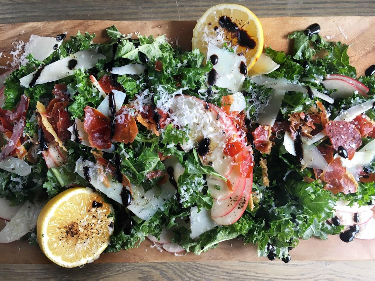 """<p>Can we always top our salads with meat and cheese, please?</p><p>Get the recipe from <a rel=""""nofollow"""" href=""""http://www.delish.com/cooking/recipe-ideas/recipes/a46518/kale-apple-pecorino-salad-with-crispy-prosciutto-and-balsamic-drizzle-recipe/"""">Delish</a>.</p><p><strong><em>ADD SOME FLAVOR: </em></strong><span><strong><em>Le Creuset Pepper Mill, $43; </em></strong><strong><em><a rel=""""nofollow"""" href=""""https://www.amazon.com/Creuset-Ink-Inch-Pepper-Mill/dp/B01NCU7F4R/?tag=syndication-20"""">amazon.com</a>.</em></strong></span><span></span><br></p>"""