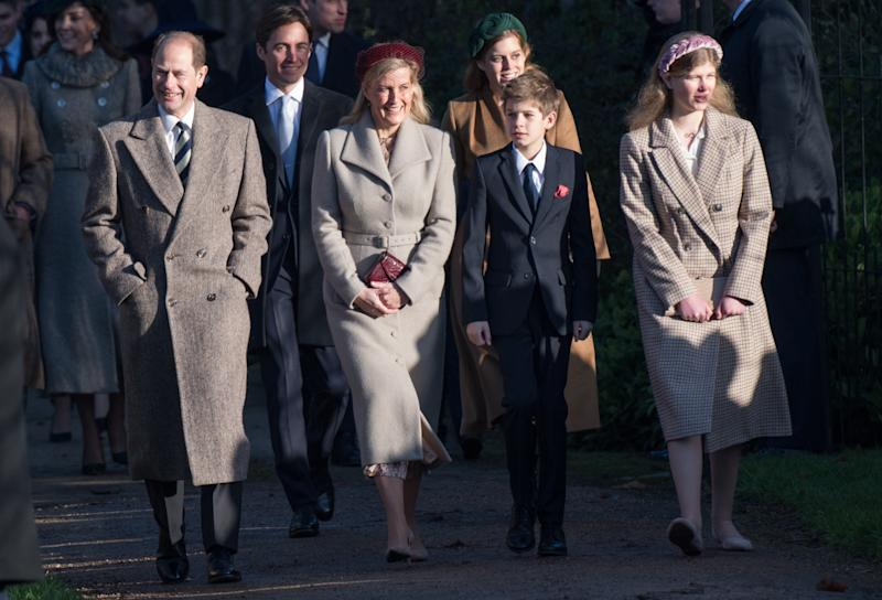 KING'S LYNN, ENGLAND - DECEMBER 25: Prince Edward, Earl of Wessex and Sophie, Countess of Wessex with James Viscount Severn and Lady Louise Windsor attend the Christmas Day Church service at Church of St Mary Magdalene on the Sandringham estate on December 25, 2019 in King's Lynn, United Kingdom. (Photo by Pool/Samir Hussein/WireImage)