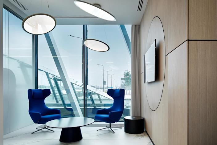 The VOX Architects-designed VIP lounge in Russia's Gagarin International Airport tastefully nods to the past while working in an entirely modern framework.